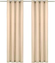 vidaXL Gardiner med metallringar 2 st bomull 140x225 cm beige