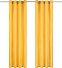 vidaXL Gardiner med metallringar 2 st bomull 140x245 cm gul