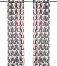 vidaXL Gardiner med metallringar 2 st bomull 140x225 cm grå och rosa