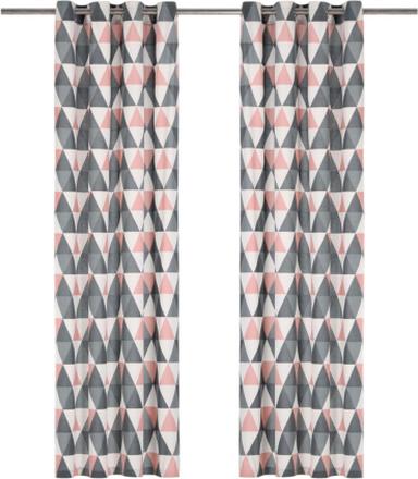 vidaXL Gardiner med metallringar 2 st bomull 140x245 cm grå och rosa