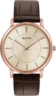 Bulova Classic Rose guld brunt läder rem mäns Watch