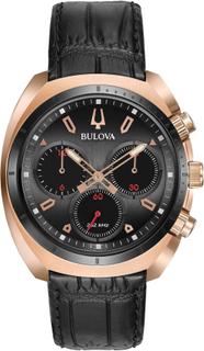 Bulova Curv grå Rose Gold män Chronograph Watch Svart 42mm