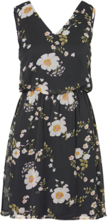 VERO MODA Flower Short Sleeved Dress Kvinna Svart