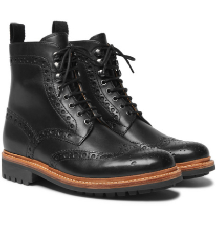 Fred Leather Brogue Boots - Black