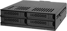 "4x 2.5"" sata/sas in 1x 5.25"" bay mobile rack screwless trays bla"