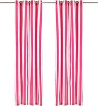 vidaXL Gardiner med metallringar 2 st tyg 140x225 cm rosa randig