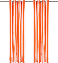 vidaXL Gardiner med metallringar 2 st tyg 140x245 cm orange ränder