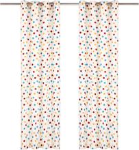 vidaXL Gardiner med metallringar 2 st bomull 140x245 cm flerfärgad