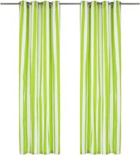 vidaXL Gardiner med metallringar 2 st tyg 140x245 cm grön ränder