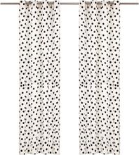 vidaXL Gardiner med metallringar 2 st bomull 140x175 cm svart prickar