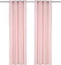 vidaXL Gardiner med metallringar 2 st bomull 140x175 cm rosa randig