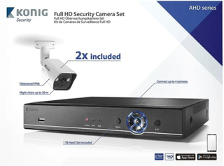 König CCTV sett - Full HD DVR, 1TB HDD, 2x Overvåkningskameraer