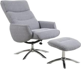 Ebuy24 West recliner lenestol inkl. puff i lys grå stoff.