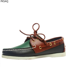 Couple Boat Shoes Leather Casual Shoes Flat Men Round Toe Boats Lace Up Fashion Hand Made Spirng New Shoes Plus Size