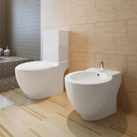 vidaXL Keramisk toalett & bidetsett hvit