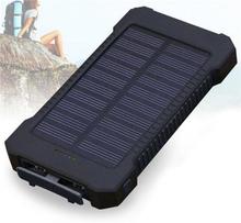 Powerbank med solcellsladdning, 10000 mAh - Svart