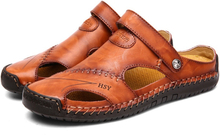 Merkmak Summer Hollow Baotou Flip Flop Sandals For Men's Genuine Leather Casual Breathable Soft Beach Men Shoes Size 48 Footwear