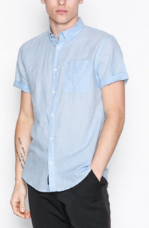 River Island Ss Linen Reg Skjortor Light Blue