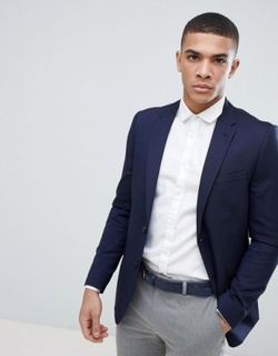 Burton Menswear wedding skinny fit suit jacket in navy