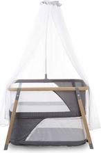 CHILDHOME Hopfällbar spjälsäng med sänghimmel naturvit och grå
