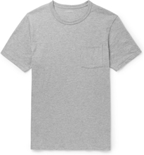 Slim-fit Garment-dyed Mélange Cotton-jersey T-shirt - Gray