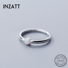 INZATT Genuine 925 Sterling Silver Color Round Opal Ring For Women Party Classic Minimalist Fine Jewelry Index Finger Hot Sale