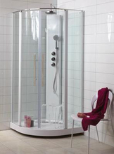 Noro Wave brusekabine 90 x 90 cm med aluminium profil og klart glas
