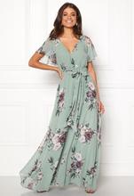 54483780528b Goddiva Floral Sleeve Maxi Dress Duck Egg XS (UK8)