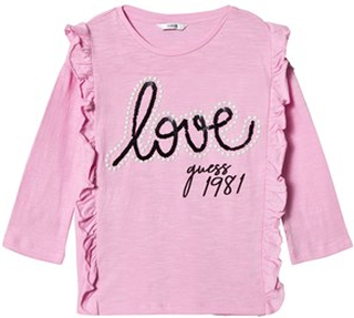 Guess Frill Front Love Guess T-shirt Rosa 10 years