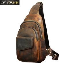 """Hot Sale Men Crazy Horse Leather Casual Fashion Chest Sling Bag 8"""" Tablet Design One Shoulder Bag Cross body Bag Male 8013d"""