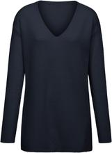 V-ringad tröja i 100% ren ny ull från Peter Hahn blå