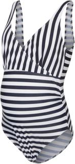 MAMA.LICIOUS Striped Swimsuit Kvinna Blå