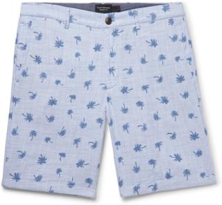 Maddox Slim-fit Printed Cotton Shorts - Blue