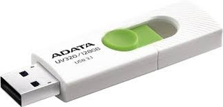 128GB USB 3.2 Flash Disk Drive, ADATA UV320, White/GreenThe UV320 features a sliding USB connector, which smoothly extends from the drive at the push of a thumb. The capless design eliminates the hassle of lost drive caps. It comes with a high speed USB 3