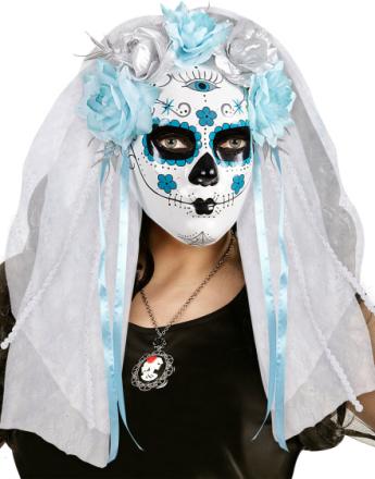 Day of the Dead-Maske med Blomster og Slør