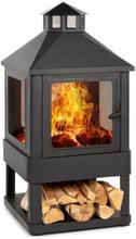 Macondo eldstad eldskål 35x35cm vedfack stål svart