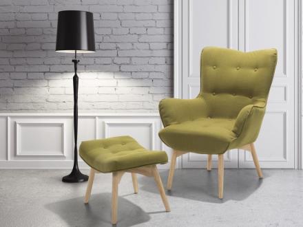 Lænestol med fodskammel Olivengrøn Vejle