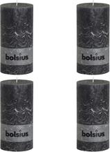 Bolsius Blockljus 4-pack 200x100 mm mörkgrå