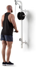 Stronghold latsdrag vägginstallation 100kg 2,5m kabel tricepsstång vit
