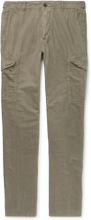Slim-fit Garment-dyed Linen And Cotton-blend Cargo Trousers - Green