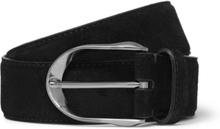 3.5cm Black Suede Belt - Black