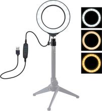 "Puluz 4.7"" USB 3 Stegs Dimbar LED Ring videolampa med Cold Shoe Tripod Kulhuvud"