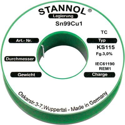 Lödtenn, blyfri Spole Stannol KS115 SN99Cu1 100 g