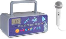 Kidsbox Space CD Boombox CD-player BT FM USB LED-display grå
