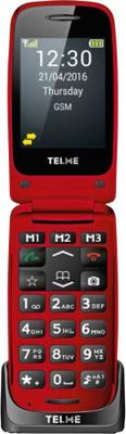 Senior-mobiltelefon vikbar Telme X200 Röd