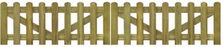 Impregnert stakittgjerde port 2 deler - 300 x 60 cm Tre