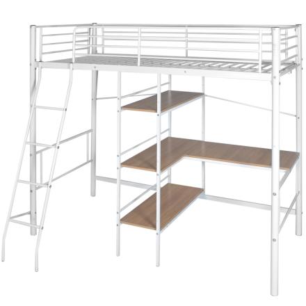 vidaXL Loftsäng med skrivbord metall 200x90 cm vit och brun