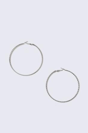 Silver Look Textured Hoop