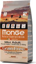 Monge Grain Free Mini Adult Ente mit Kartoffeln Trockenfutter fur Hunde Erwachsene 2.5Kg