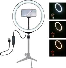 "Puluz 10.2"" USB 3 Stegs Dimbar LED Ring videolampa med Cold Shoe Tripod Kulhuvud"